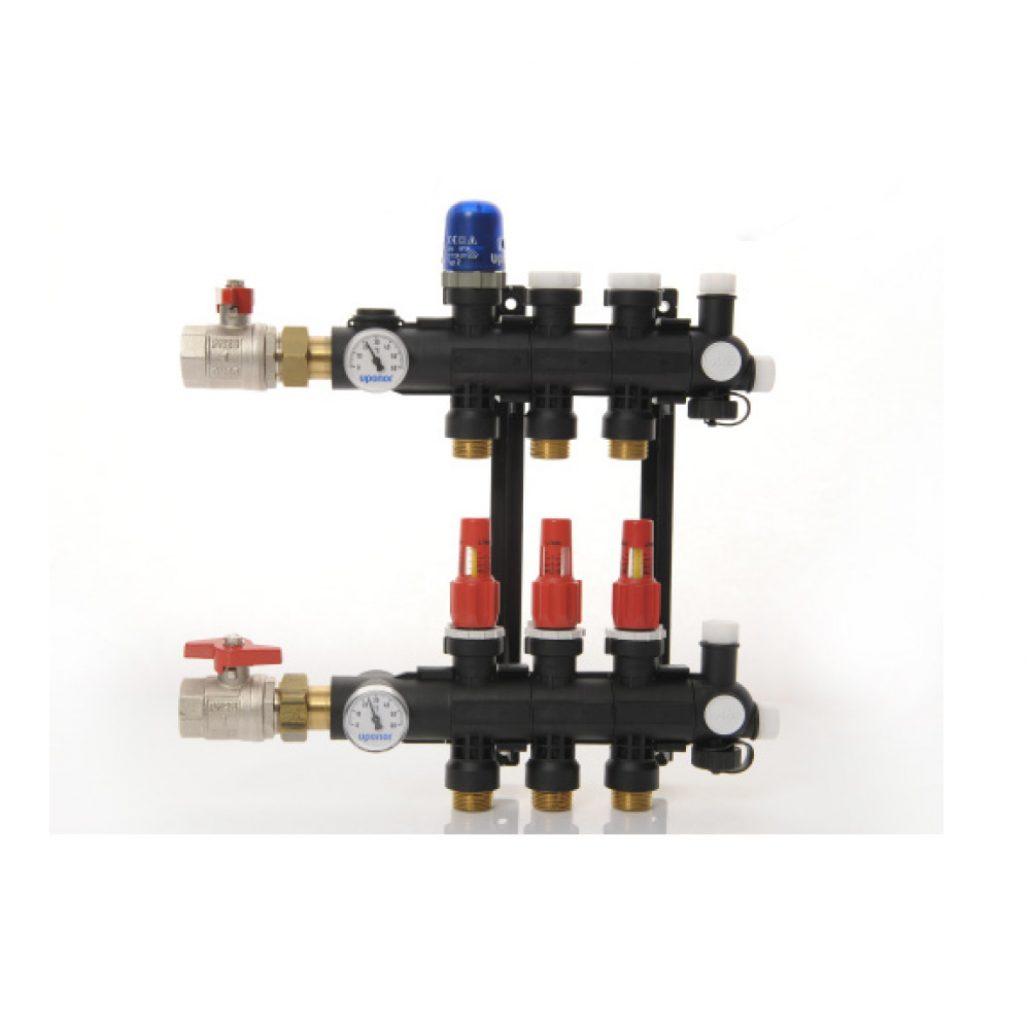 Underfloor hydronic heating manifold
